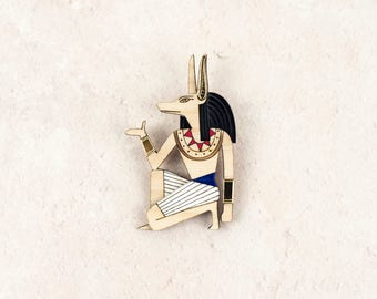 Anubis Brooch, Ancient Egyptian Jewellery, Gold and Plywood Statement Brooch