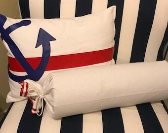 Anchors Away! Nautical anchor pillow.