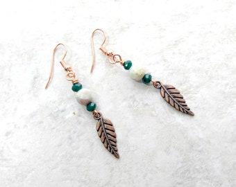 Copper feather earrings, Light blue jasper earrings, teal green earrings, mothers day gifts, gifts for women, long dangle earrings, for wife