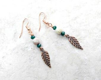 Kupfer, federohrringe, Licht blau Jaspis Ohrringe, Teal Grün Ohrringe, Mütter tagesgeschenke, Geschenke für Frauen, lange Ohrringe, für Frau
