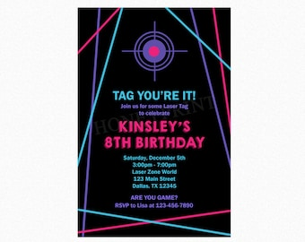 Laser Tag Birthday Party Invitation, Girl Laser Tag Invitation, Personalized, Printable JPEG/PDF or Printed Invitations