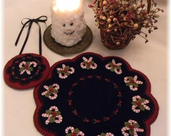 Candle Mat Kit, NEW ***, DIY Craft Kit, Felt Craft Kit, DIY Kit, Craft Kit, Wool Felt Kit, Diy Gift Idea, Felt Crafts, Gift, Christmas Candy
