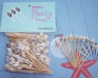 100 Seashell Toothpicks perfect for Sea Shell Beach Wedding