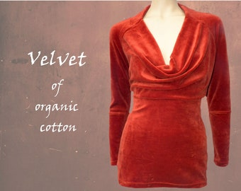 organic cotton velvet shirt, pullover  cotton velvet GOTS certified, party pullover, sustainable clothing, fair trade clothing