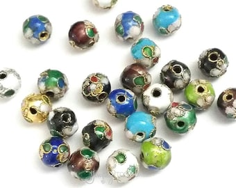 Cloisonne Beads, Round Beads, Handmade Beads, 6mm Assorted Colors, Lot Size 10 to 30 Beads