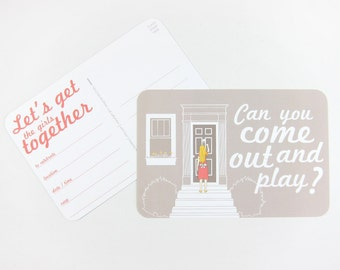 Can You Come Out and Play: Set of 10 or More Invitation Postcards