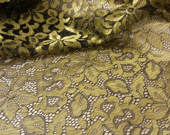 Black Gold Lace Fabric French Lace Chantilly Lace Bridal lace Wedding Lace Evening dress lace Scalloped Floral lace Lingerie yard L92719