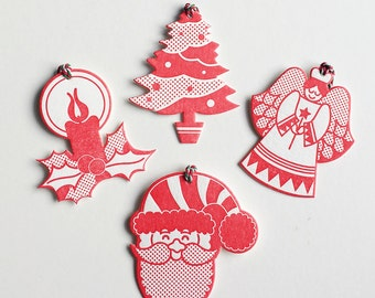 Assorted Christmas Letterpress gift tags 4 pack