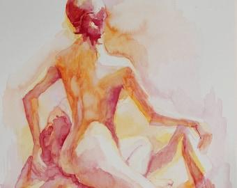 Watercolor Drawing of Female in Citrus Colors - Fine Art Print