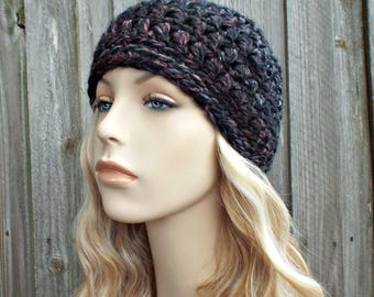 Blackstone Black Beanie - Crochet Womens Hat Mens Hat - Warm Winter Hat - READY TO SHIP
