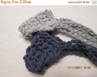 30% Off SPRING SALE Crocheted Cotton Nose Warmers Navy and Gray