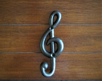 Music Note Wall Hook / Black or Pick Color / Gift for Music Lover / Towel Coat Robe Keys Jewelry Hat Hook / Treble Clef Wall Decor