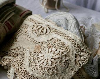 Antique Wedding Lace Vintage Cream Bobbin Lace Floral Pattern Period Costume Vintage Wedding Dolls & Bears Cotton Lace 210cm