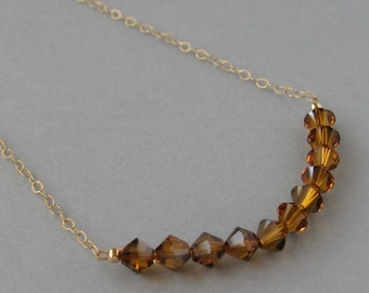 Genuine Swarovski,  Gold Filled Necklace, Topaz Swarovski Crystals, Swarovski Necklace, Every Day Necklace, Brown Necklace, Bicone  - DK325