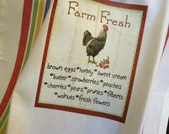 Farm Fresh towel rooster Farmhouse kitchen Vintage style cotton Shabby Prairie Farmhouse ECS RDT FVGteam