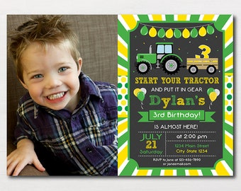 Tractor Birthday Invitation, Tractor Invite, Farmer Invitation, printable, photo invitation, chalkboard