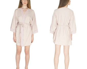 Bridal Party Robes Custom Bridal Robes Getting Ready Bridesmaids Robes Soft Knit Lace Trim Kimono Bridal Shower Gifts
