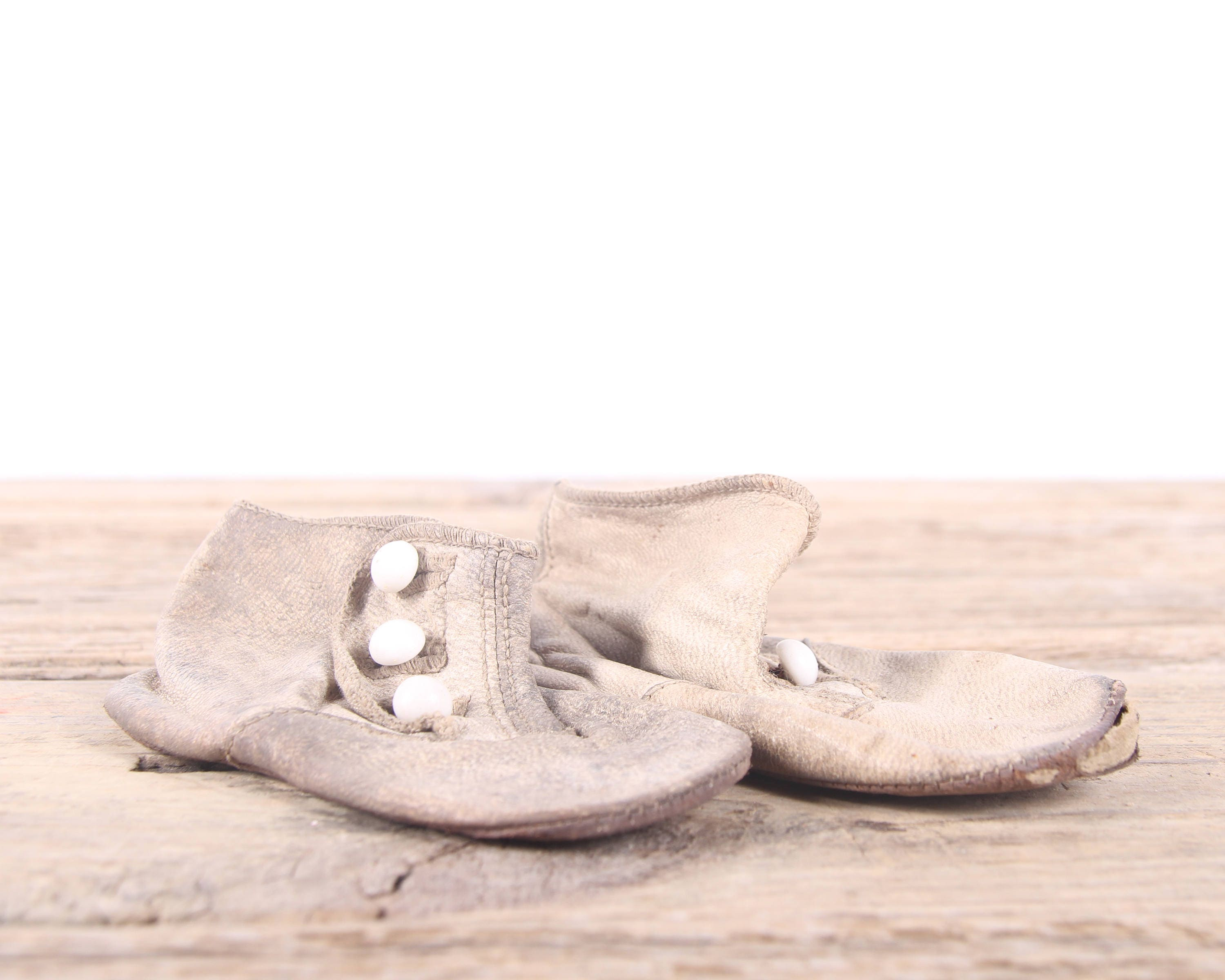 Vintage Leather Baby Shoes Antique Leather Baby Shoes White