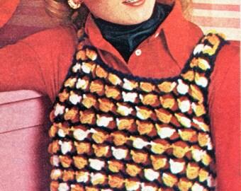 Retro Puffy Stitch Pullover Vest Crochet Pattern PDF Instant Download