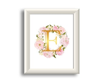 Monogram Art, Nursery Letter Print, Girl Pink flowers room decor, Watercolor flowers printable wall art, Gold and pink, monogram print