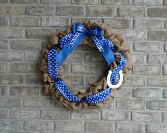 Colts Wreath, Large Burlap Wreath, Colts, NFL, Football, Fan, Front Door Decor, Housewarming Gift, Sports Wreath