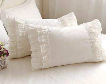 Pair of Chic Arts: Fairy Tale Off White, Creamy, Ivory  Lace Ruffle Pillow Shams, Pillow Cases BC031