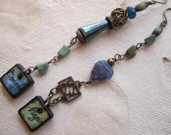 Create Magic Asymmetrical Earrings, Blue & Green Inspire Earrings, Missmatched, tile earrings, Chrysophase, brass, Czech glass, long boho