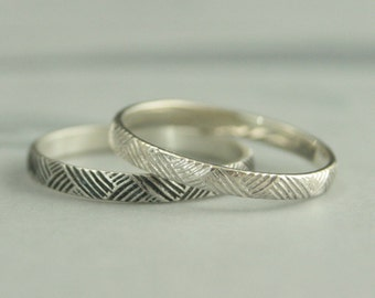 Silver Crosshatch Band--Basket Weave Ring--Silver Stacking Ring--Silver Wedding Band--Patterned Band--925 Sterling Silver--Pattern Ring