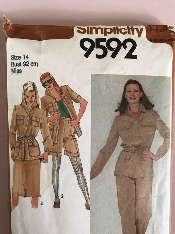 Einfachheit 9592 Vintage retro 1980 Schnittmuster Safari