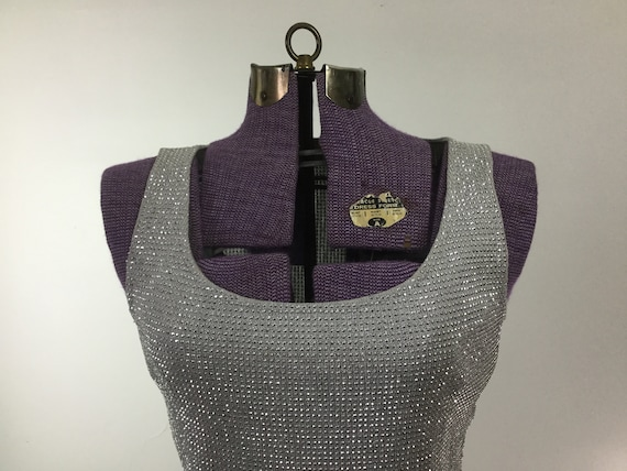 John top vintage Silver clothing silver tank designer vintage top sleeveless top shell beaded club silver Sequin St shirt vintage q4rt5