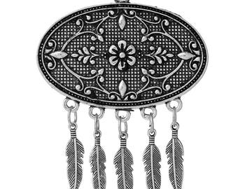 74 mm x 59 mm Antique Silver Pendant, Flowers and Feathers (1344)