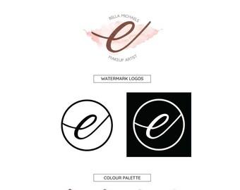 Premade Watercolor Logo Design, Branding Kit, Business Logo, Custom Logo Design