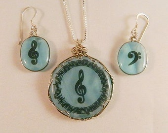 Let the Music Play Fused Glass Pendant, and Earrings, Sterling Silver Chain and Earwires, SET3