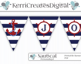 Nautical Banner - Personalized Digital Banner, Ships wheel and Anchor, PDF Printable, Birthday Banner, Baby Shower Decor, Boy Baby Shower