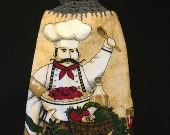 Happy Chef Double Sided Kitchen Hand Towel Gray 2