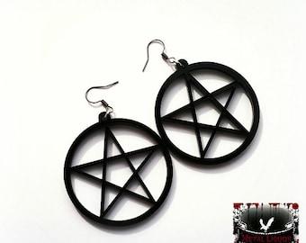 Gothic earrings, pentagram earrings, pagan earrings, acrylic earrings, gothic jewellery,gothic sale, gothic gift, january sale