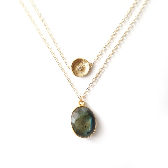 Gold Coin + Oval Labradorite Layer Necklace