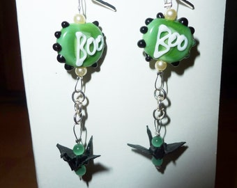 Halloween earrings with monster's paws and origami cranes