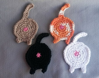 Cat Butt Coasters, Set of 4, Coasters, Cat Butt, Cat, Dog Butt, Crochet Coasters, Crazy Cat Lady, Cat Gift, Mug Rug, Gag Gift, Joke Gift