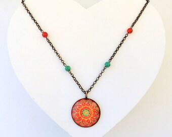 Mandala Necklace LYS MANDALA Red Green Yellow Mandala Jewelry Love Yourself Jewelry Energy Healing Mandala Art Pendant Necklace