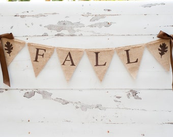 Fall Banner, Fall Burlap Banner with Ribbons, Autumn Banner, Fall Decor, Fall Bunting, B024