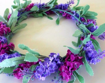Frida Flower Crown - Flower Headband - Boho headband - Festival headband - Purple Hair Wreath