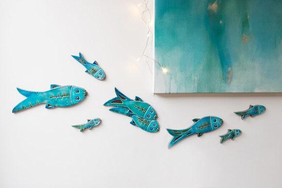& Set of 10 ceramic fish // Fish wall art // Fish wall hangings