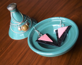Black and Pink Triangle Earrings