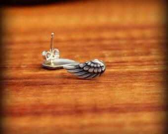 Angel wing post earrings, Sterling silver Angel wing earrings