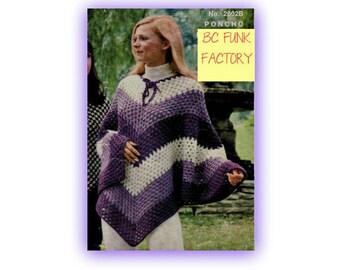 Women's Crochet Poncho PATTERN Vintage 70's Trending Instant Download on Etsy
