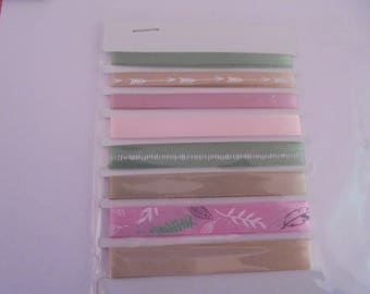 Green, pink and beige 5 satin ribbons, 10 and 12 mm