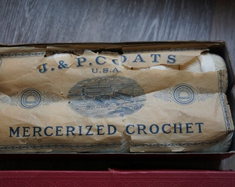 Antique J & P Coats Mercerized White Crochet Thread Ten Balls in Original Box with Paper
