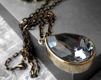 Black Night Crystal Teardrop Necklace, Black Diamond Crystal Pendant, Gold Bezel, Black Gold Crystal Necklace, New Years Eve Jewelry 4470