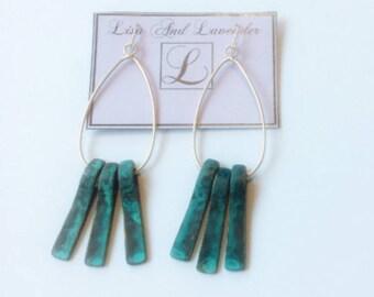Handmade vintage dangling drop turquoise earrings
